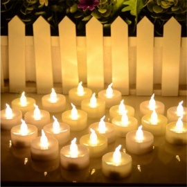 12Pcs Premium Mini LED Candle Lights, Small Flashing Lamp for Wedding Birthday Halloween Christmas Decoration Yellow Flicker