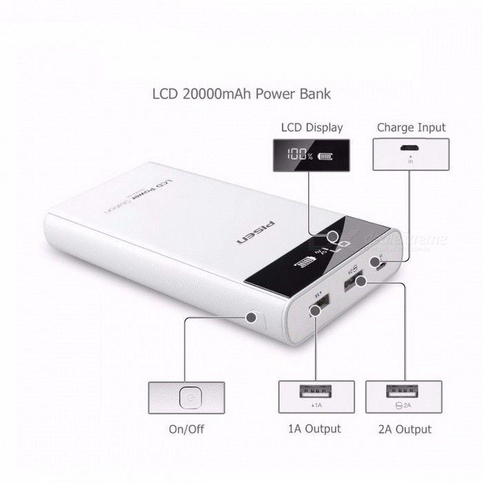 PISEN Portable 18650 20000mAh Power Bank PowerBank, External Battery with 2 USB Ports, LCD Display for IPHONE Xiaomi Mi Phone