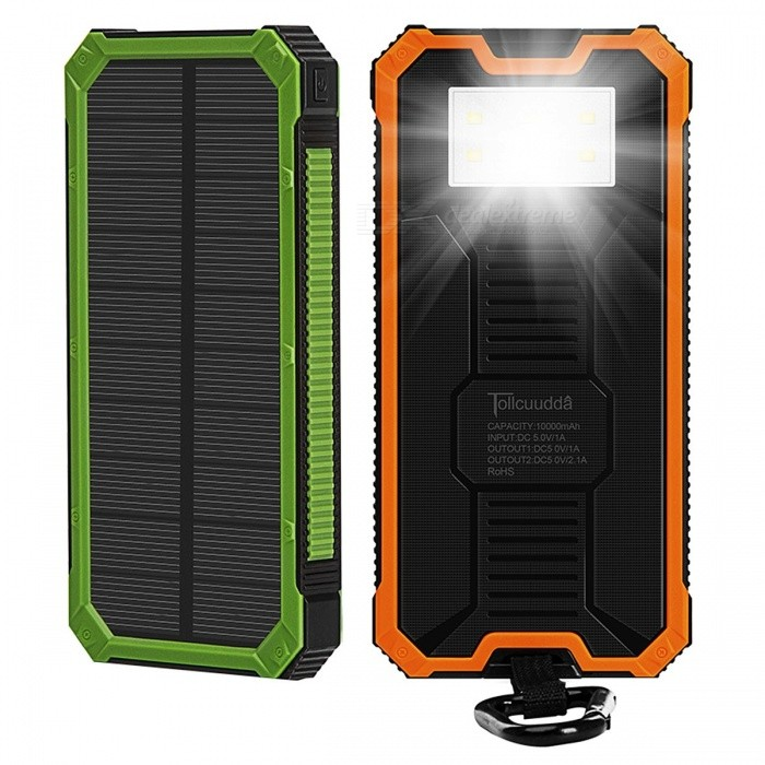 Tollcuudda Portable 10000mAh Mobile Solar Powerbank Power Bank, External Battery Charger for Xiaomi, IPHONE, and More Phones orangeMobile Power<br>Description<br><br><br><br><br>Type: Emergency / Portable<br><br><br>Quality Certification: FCC,CE,RoHS<br><br><br><br><br>Weight: 222g<br><br><br>Battery Type: Li-polymer Battery<br><br><br><br><br>Is LED Lamp Illumination: Yes<br><br><br>Brand Name: Tollcuudda<br><br><br><br><br>Output: 5V/1A<br><br><br>Battery Capacity(mAh): 5001-7000mAh<br><br><br><br><br>Supports Solar Energy: Yes<br><br><br>Input Interface: Micro USB<br><br><br><br><br>Support Quick Charge Technology: No<br><br><br>Output Interface: Double USB<br><br><br><br><br>Size: 161*79*17mm<br><br><br><br><br><br><br><br><br><br>Batteries Type: Polymer lithium-ion batteries <br><br><br>color: Green, yellow, orange, black <br><br><br>Multifunction: Camping Lights <br><br><br>About waterproof: Only surface waterproof, cant fully waterproof! <br><br><br>Input Interface: USB <br><br><br>Output Interface: Double USB <br><br><br>Voltage: Input: 5V Output: 5V <br><br><br>Input: 5V/1A <br><br><br>Model Number: DYLH01 <br><br><br><br>Description:<br><br><br><br>100%&amp;nbsp;New and easy to use&amp;nbsp;Power Bank&amp;nbsp; <br><br><br>output capacity: 5000-7000mAh&amp;nbsp; <br><br><br>Battery type: Universal&amp;nbsp;battery <br><br><br>Interface: &amp;nbsp;USB(input); USB(output) <br><br><br>Input: DC5V, 1A <br><br><br>Output: DC5V, 2.1A <br><br><br>Charging time: about 6 hours with 5V/1A charger <br><br><br>Weight: 220g <br><br><br>Color: black / green / yellow / orange <br><br><br>Size:&amp;nbsp;161*79*17mm <br><br><br>Standard products include: power bank * 1 &amp;nbsp; &amp;nbsp;/ &amp;nbsp; USB cable * 1&amp;nbsp; <br><br><br><br>as mobile power charging loss, general conversion rate of 60%. If mind , please dont order , thank you! <br><br><br>&amp;nbsp;<br><br><br><br><br><br>Features: <br><br><br><br><br>10000mAh solar charger external battery power bank <br><br><br>Strong shockproof and drop resistance. <br><br><br>Wiht dual USB and micro USB ports. <br><br><br><br><br>Emergency LED torch, the LED flashlight works perfectly in darkness, especially for emergency. <br><br><br><br><br><br><br>Compact, portable stylish design&amp;nbsp; <br><br><br>Important reminders&amp;nbsp;<br><br><br>when you&amp;nbsp;use the solar <br>charging&amp;nbsp;.it&amp;nbsp;need in bright light the better&amp;nbsp;Sunlight&amp;nbsp;to charge the <br>mobile power, do not&amp;nbsp;Interrupted, at least 20 hours to charging .Solar <br>energy conversion will some&amp;nbsp;slow&amp;nbsp;relatively&amp;nbsp;, the solar&amp;nbsp;power is about <br>220mah .&amp;nbsp;<br> therefore,it donesnt have significant reactivity . recommended that you use the&amp;nbsp;usb&amp;nbsp;DC charging and&amp;nbsp;full power it&amp;nbsp;anytime <br><br><br>as mobile power charging loss, <br>general conversion rate of 60%&amp;nbsp;. when you detect it . power capacity may<br> be show a little lower . when you received it . if has any problems <br>please comunicate with us first . we will deal with it well&amp;nbsp; <br><br><br>the first you double-click to <br>open the Power button . it was the continued light . then click one time<br> again . it was the flashlight .&amp;nbsp;<br>