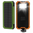 Tollcuudda Portable 10000mAh Mobile Solar Powerbank Power Bank, External Battery Charger for Xiaomi, IPHONE, and More Phones Black