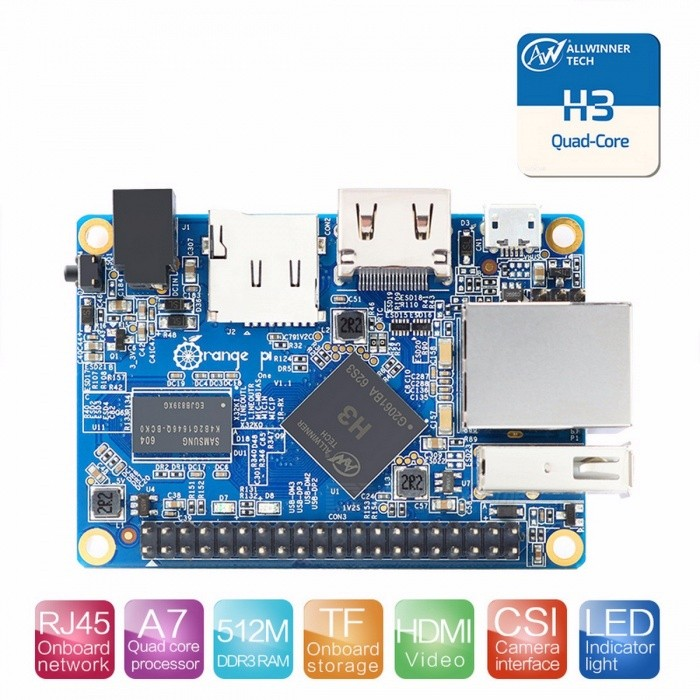 Orange Pi One  H3 Quad-core  Support Ubuntu Linux  and Android Beyond Raspberry Pi 2 Mini PC DIY Porject Orange Pi OneMotherboards<br>DescriptionIntergrated Feature: 10/100MbpsProcessor Brand: AllwinnerBrand Name: ORANGEPIInterface: TF Card Support,HDMI/RCA OutputDemo Board Type: ARMMemory Capacity: 512mb<br>