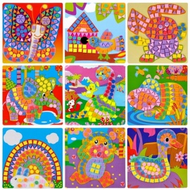 EVA Mosaic Creative 3D Puzzle Stickers Art Crafts Toy for Kids, Game Puzzle Animals Transport Educational Toy, Chrismas Gift Colorful