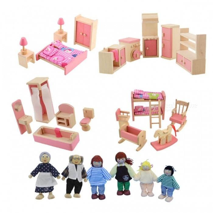 Wooden Furniture Doll Toys Set Miniature Bedroom Dollhouse Educational Toy Chrismas Gift for Girls Children