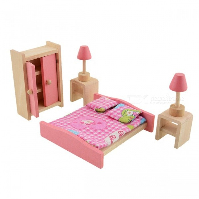 Kids Bedroom Furniture Kids Wooden Toys Online: Wooden Furniture Doll Toys Set Miniature Bedroom Dollhouse