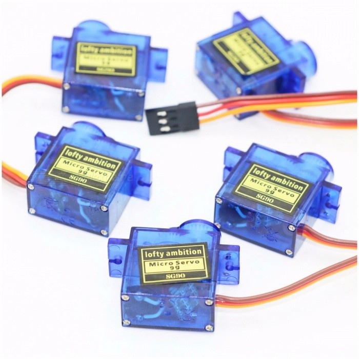 9G Micro Mini Servos + Horns for Remote Control RC Helicoper Airplane, Light Weight Less Noise, 5 Pieces Per Lot  BlueOther Accessories for R/C Toys<br>Description<br><br><br><br><br>Use: Vehicles &amp;amp; Remote Control Toys<br><br><br>Technical parameters: Value 2<br><br><br><br><br>RC Parts &amp;amp; Accs: Servos<br><br><br>Four-wheel Drive Attributes: Assemblage<br><br><br><br><br>Remote Control Peripherals/Devices: Servos<br><br><br>Tool Supplies: Assembled class<br><br><br><br><br>Material: Plastic<br><br><br>For Vehicle Type: Helicopters<br><br><br><br><br>Plastic Type: ABS<br><br><br>Upgrade Parts/Accessories: Other<br><br><br><br><br><br><br><br><br>Dimensions: 22.6 x 21.8 x 11.4mm<br>Operating Speed (4.8V no load) : 0.12sec / 60 degrees<br>Stall Torque (4.8V): 1.98 kg/cm<br>Temperature Range: - 30 to + 60 degree C<br>Dead Band Width: 4usec<br>Operation Voltage : 3.5 - 8.4 Volts<br>Recommend Model: Mini Car / Mini Ship / Helicopter &amp;amp; Airplane<br>Original box: NO<br>Net weight: 13g<br>Package weight: 19g<br>Color: blue&amp;nbsp;<br><br><br><br><br>Package including:<br>5 x 9G Servos (with Accessories )<br>