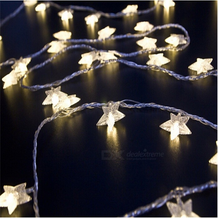 4m 20-LED Pentagram Fairy String Light, Snow Star Bulbs Lamp for Christmas Tree, Xmas Party Wedding Garden Decoration AU plug/RGBLED String<br>Description<br><br><br><br><br>Usage: Holiday<br><br><br>Voltage: 220V<br><br><br><br><br>Color: Multi,White<br><br><br>Holiday Name: Christmas<br><br><br><br><br>Certification: CE<br><br><br>Lighting Distance: &30m<br><br><br><br><br>Plug Type: EU Plug<br><br><br>Occasion: Garden<br><br><br><br><br>Power Source: AC<br><br><br>Brand Name: YIcolor<br><br><br><br><br>Light Source: LED Bulbs<br><br><br>Is Dimmable: No<br><br><br><br><br>Is Bulbs Included: Yes<br><br><br>Body Material: Plastic<br><br><br><br><br>Head Number: 20-50 head<br><br><br>Music: None<br><br><br><br><br>Plug The Tail: No<br><br><br>Base Type: Other<br><br><br><br><br>Battery Type: Other<br><br><br><br><br><br><br><br><br><br><br><br>Features:<br><br><br> <br><br><br>Mini and artistic appearance, it is easy to carry. <br><br><br>With bright led light, it looks very beautiful in the night <br><br><br>Low power consumption, be safe and reliable. <br><br><br>One-button-operation design, it is more convenient to use <br><br><br>Oceans of little flower twinkle, flash and change magically <br><br><br>It can be put or hung on walls, windows, doors, floors, ceilings, grasses, Christmas trees etc. <br><br><br>Perfect decoration for Valentines Day, Christmas, other holidays, party, wedding, etc. <br><br><br>&amp;nbsp;<br><br><br>Product Specifications:<br><br><br>Item Name:4M 20 LEDs LED string light<br><br><br>Total Length: 4M<br><br><br>Quantity of led bulbs: 20<br><br><br>Lifespan: 10000 hours<br><br><br>Input Voltage: AC 110/220V, 50/60Hz<br><br><br>Wire Color: transparent<br><br><br>Package: paper box<br><br><br>Product Structure: led bulbs, wires,pendants, controller and plug.<br><br><br>Lighting Mode:Not 8 Functions, Only Flash/Steady On<br><br><br><br>Remarks:<br><br><br>EU, AU, &amp;nbsp;UK&amp;nbsp;or US plug is for your choice.<br><br><br>If you want any o