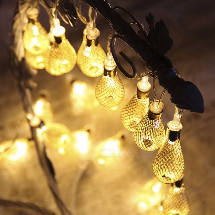 ZINUO 4m 20-LED 8-Mode Garland Metal Drop Fairy String Light for Outdoor Patio Wedding Party Christmas Decoration, 220V