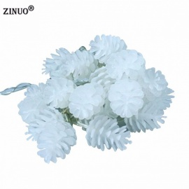 ZINUO Pinecone Garlands Echinacea 5m 20-LED 8-Mode Fairy String Lights for Christmas Holiday Wedding Party Decoration White