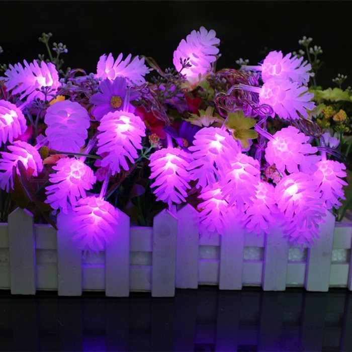 ZINUO Pinecone Garlands Echinacea 5m 20-LED 8-Mode Fairy String Lights for Christmas Holiday Wedding Party Decoration