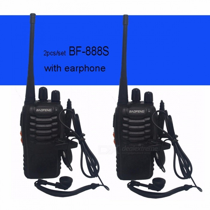 Baofeng BF-888S Walkie Talkie Portable Radio BF888s 5W 16CH UHF 400-470MHz BF 888S Comunicador Transmitter Transceiver - 2PCS with 2microphoneWalkie Talkies<br>Description<br><br><br><br><br>Is_Display: No<br><br><br>Brand Name: Baofeng<br><br><br><br><br>Maximum Range: 1.5km-3km<br><br><br>Type: Two Way Radio<br><br><br><br><br>Walkie Talkie Type: Portable<br><br><br>Material: Plastic<br><br><br><br><br><br><br><br><br><br><br><br>Model <br><br><br><br><br>BF-888S <br><br><br><br><br><br><br>Antenna&amp;nbsp;Impedance <br><br><br><br><br>50ohm <br><br><br><br><br><br><br>Working&amp;nbsp;temperature <br><br><br><br><br>-30~+60°C <br><br><br><br><br><br><br>Rated&amp;nbsp;Voltage <br><br><br><br><br>3.7V&amp;nbsp;DC <br><br><br><br><br><br><br>Output&amp;nbsp;power <br><br><br><br><br>&amp;lt;5W <br><br><br><br><br><br><br>Battery&amp;nbsp;type <br><br><br><br><br>Li-ion&amp;nbsp;battery <br><br><br><br><br><br><br>Battery&amp;nbsp;capacity <br><br><br><br><br>1500mAh <br><br><br><br><br><br><br>Color <br><br><br><br><br>Black <br><br><br><br><br><br><br>Dimension(LXWXH) <br><br><br><br><br>60X33X115mm(Not&amp;nbsp;Antenna) <br><br><br><br><br><br><br>Weight <br><br><br><br><br>180g <br><br><br><br><br><br><br>Dual&amp;nbsp;band&amp;nbsp;or&amp;nbsp;Single&amp;nbsp;band <br><br><br><br><br>Single&amp;nbsp;band <br><br><br><br><br><br><br>Dual&amp;nbsp;frequency&amp;nbsp;or&amp;nbsp;Single&amp;nbsp;frequency <br><br><br><br><br>Single&amp;nbsp;frequency <br><br><br><br><br><br><br>Frequency&amp;nbsp;Range <br><br><br><br><br>UHF:&amp;nbsp;400-470MHz <br><br><br><br><br><br><br>Memory&amp;nbsp;Channel <br><br><br><br><br>16 <br><br><br><br><br><br><br>CTCSS/DCS&amp;nbsp;function <br><br><br><br><br>Yes <br><br><br><br><br>&amp;nbsp;<br><br><br><br><br><br><br>Built-in&amp;nbsp;Led&amp;nbsp;torch <br><br><br><br><br>Yes <br><br><br><br><br>&amp;nbsp;<br><br><br><br><br><br><br>Low&amp;nbsp;battery&amp;nbsp;alarm <br><br><br><br><br>Yes <br><br><br><br><br>&amp;nbsp;<br><br><br><br><br><br><br>Power&amp;nbsp;saving&amp;nbsp;function <br><br><br><br><br>Yes <br><br><br><br><br>&amp;nbsp;<br><br><br><br><br><br><br>Chinese&amp;nbsp;and&amp;nbsp;English&amp;nbsp;voice&amp;nbsp;prompt <br><br><br><br><br>Yes <br><br><br><br><br>&amp;nbsp;<br><br><br><br><br><br><br>PC&amp;nbsp;software&amp;nbsp;programmable <br><br><br><br><br>Yes <br><br><br><br><br><br><br>FM &amp;nbsp; &amp;nbsp; &amp;nbsp; &amp;nbsp; &amp;nbsp; &amp;nbsp; &amp;nbsp; &amp;nbsp; &amp;nbsp; &amp;nbsp; &amp;nbsp; &amp;nbsp; &amp;nbsp; &amp;nbsp; &amp;nbsp; &amp;nbsp; &amp;nbsp; &amp;nbsp; &amp;nbsp; &amp;nbsp;&amp;nbsp;&amp;nbsp;&amp;nbsp; NO<br><br><br><br><br><br><br>Package included:&amp;nbsp;<br><br><br>2 x BAOFENG Radio&amp;nbsp;BF-888S&amp;nbsp; <br><br><br>2 x 3.7V 1500mAh Li-ion Battery Pack. <br><br><br>2 x Antenna (400-470MHz). <br><br><br>2 x Belt Clip. <br><br><br>2 x Wall Charger Or&amp;nbsp; 2x&amp;nbsp;USB charger &amp;nbsp;&amp;nbsp;&amp;nbsp;(only&amp;nbsp;pick one of two) &amp;nbsp; &amp;nbsp; &amp;nbsp; &amp;nbsp; <br><br><br>1 x User Manual. <br><br><br>2 x Headset&amp;nbsp;<br>