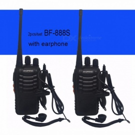 Baofeng BF-888S Walkie Talkie Portable Radio BF888s 5W 16CH UHF 400-470MHz BF 888S Comunicador Transmitter Transceiver - 2PCS Black wall charger