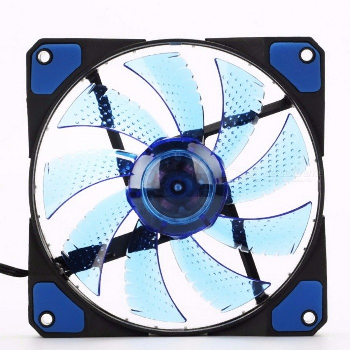 120mm LED Ultra Silent Computer PC Case Fan 15 LEDs 12V With Rubber Quiet Molex Connector Easy Installed Fan
