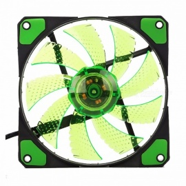 KEEPRO Original 15-LED Silent Cooling Fan, PC Computer Chassis Fan Case Heatsink Cooler, DC 12V 4P 3P, 120*120*25mm  Green