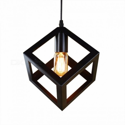 American Village Style Creative Square Iron Pendant Lamp for Living Room, Loft, Bedroom, Balcony Lighting Black