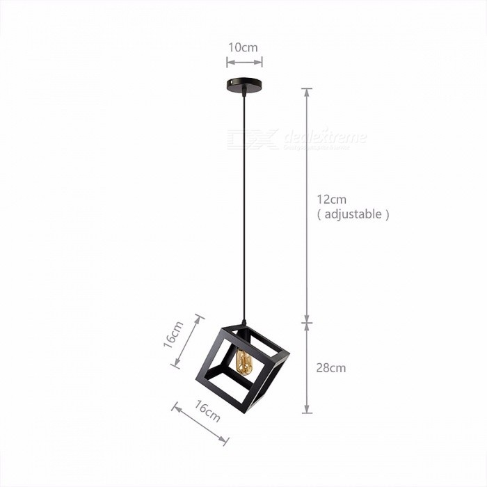 American Village Style Creative Square Iron Pendant Lamp for Living Room, Loft, Bedroom, Balcony Lighting