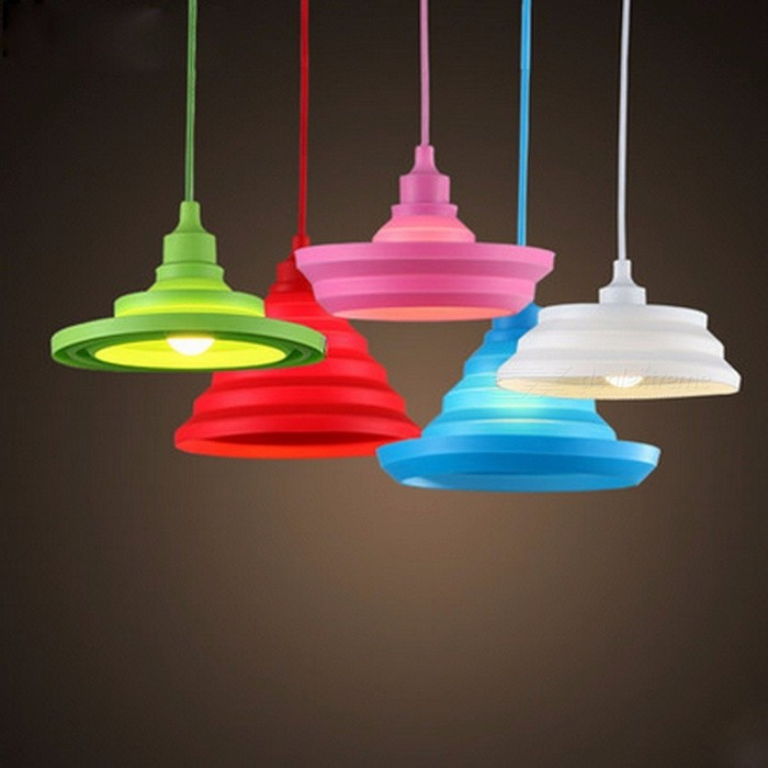 Novelty Colorful Silica Gel Plastic E27 Art Pendant Light Lampshade for Bar Restaurant Bedrooms Large Shopping Mall Lighting