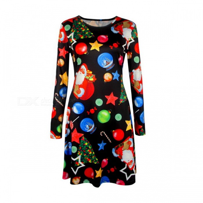Womens Autumn Winter Christmas Print Long Sleeves Casual Dress - XXLDresses<br>Form  ColorBlack + ColorfulSizeXXLQuantity1 pieceShade Of ColorBlackMaterialPolyesterStyleCasualWaist Girth- cmHip Girth- cmTotal Length- cmSuitable for Height- cmPacking List1 x Dress<br>