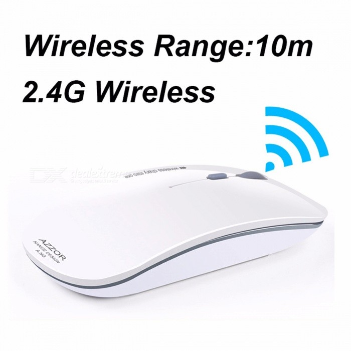 AZZOR N5 2.4GHz Super Slim Rechargeable Wireless Mouse, Silent Mute USB Optical Mouse Mice for Computer PC Tablet