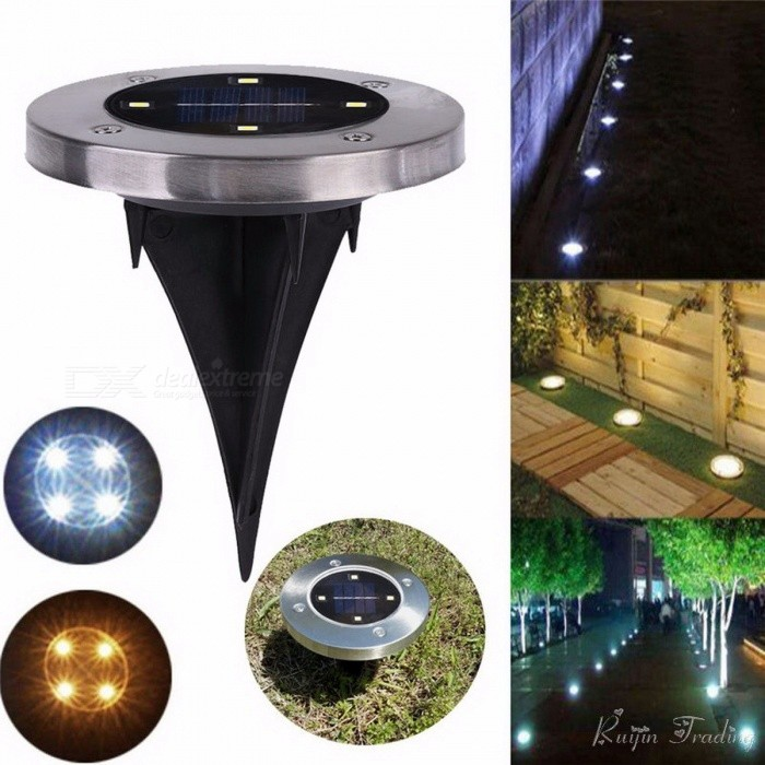 Outdoor 4-LED Solar Light Ground Water-resistant Path Garden Landscape Lighting Yard Driveway Lawn Pond Pool Pathway Night Lamp Warm white lightSolar Lamps<br>DescriptionPower Source: SolarStyle: ModernSolar Cell Type: Ni-MHBrand Name: AscherCertification: CE,RoHS,CCCProtection Level: IP65Voltage: 6VUsage: EmergencyBody Material: ABSLight Source: LED BulbsBase Type: WedgeIs Bulbs Included: YesIs Dimmable: No<br>