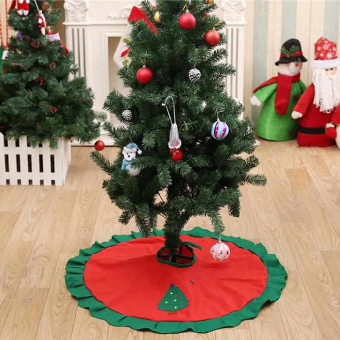 70-100cm Christmas Tree Skirt Embroidered Non-woven Christmas Tree Skirt Xmas Trees Ornaments Christmas Decorations for Home