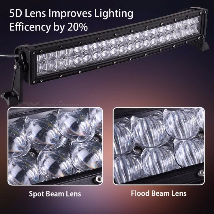5D 200W 300W 400W 500W 22 32 42 52 Inches Curved LED Work Light Bar for Tractor Boat OffRoad 4WD 4x4 Car Truck SUV ATV