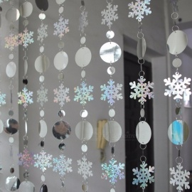 Decorative Christmas Decoration Curtain Big Snowflakes Style Laser Sequins PVC Glitter Sequins Curtain Christmas Tree Ornaments