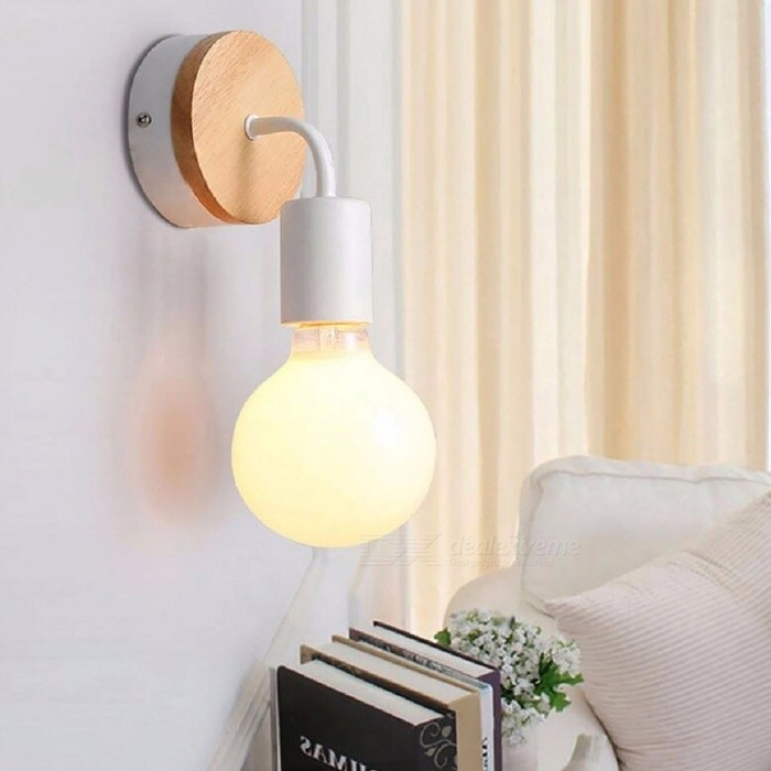 Vintage Northern Europe Wooden Metal Wall Lamp Industrial Indoor Lighting Bedside Lamps LED Wall Lights for Home Decoration