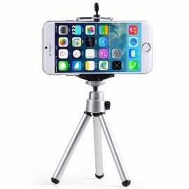 Mini Potable Mobile Phone Camera Tripod Stand Clip Bracket Holder Mount Adapter Self-Timer Phone Soporte for IPHONE Samsung Silver