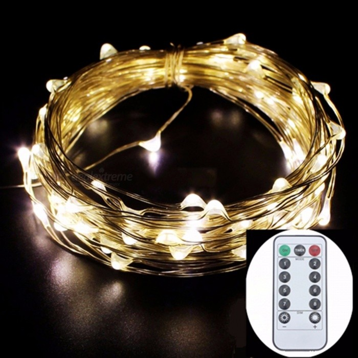 Battery Powered Flexible LED String Light with Remote Control Copper Silver Wire Waterproof Christmas Holiday Party Decoration
