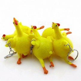 Novelty Egg Laying Hens Crowded Stress Ball Keychain Stress Reliever Spoof Tricky Funny Gadgets Toys Vent Chicken Yellow