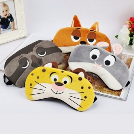 Cute Animal Pattern Cotton Sleep Mask Travel Rest Relax Sleeping Aid, Blindfold Ice Cover Eye Patch Case Tiger