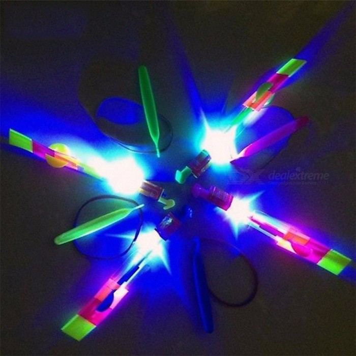 12Pcs/Lot Amazing LED Light Arrow Rocket Helicopter Rotating Flying Toy for Fun Party, Outdoor Fly Arrow Flashing Toy for Kids