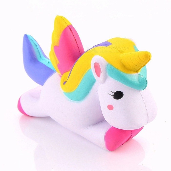 P15 13.5cm Simulation Flying Unicorn Pony Horse Squishy Toy, Slow Rising Squeeze Doll, Funny Joke Props Pranks Maker Trick Gift