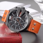 SKONE Chronograph Men's Sport Quartz Watch with Stopwatch, Casual Military Leather Wrist Watch with Calendar Display Orange