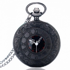 P427 Vintage Charm Unisex Fashion Roman Number Quartz Steampunk Pocket Watch w/ Necklace Chain Pendant for Women Men Gift Black