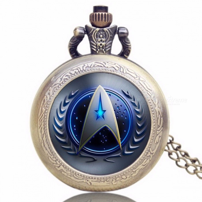 Unique Chic Style Star Trek Theme Pocket Watch With Necklace Chain High Quality Fob