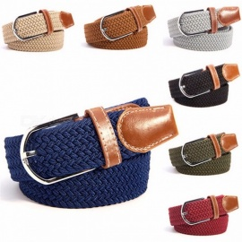Fashion Chic Premium Unisex Canvas Plain Webbing Metal Spoon Woven Stretch Waist Belt for Men and Women Black