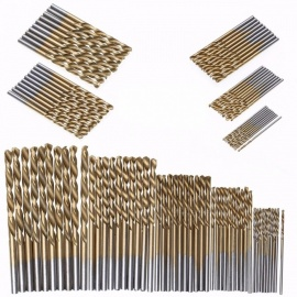 50Pcs Titanium Coated HSS High Speed Steel Drill Bits Set Tool, High Quality Power Tools 1/1.5/2/2.5/3mm gold
