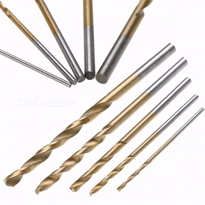 50Pcs Titanium Coated HSS High Speed Steel Drill Bits Set Tool, High Quality Power Tools 1/1.5/2/2.5/3mm