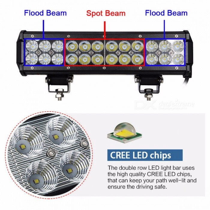 RACBOX 12 Inches 72W LED Work Light Bar with LED Chips Flood Spot Combo Beam for Offroad ATV SUV 4WD Boating Truck Tractor