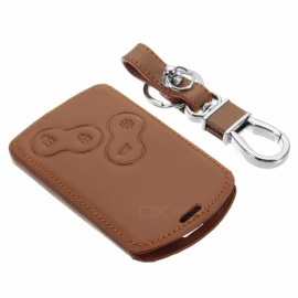 Leather Key Case Cover Holder with Keychain for Renault Koleos Laguna 2 3 Megane 1 2 3 Sandero Scenic Captur Clio Duster Fluence Brown