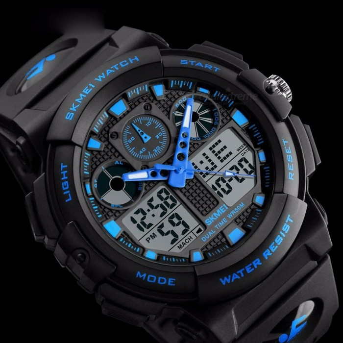 SKMEI 1270 50m Watwrproof Men's Sports Watch, Digital Chronograph Wristwatch with Double Time, Week Display