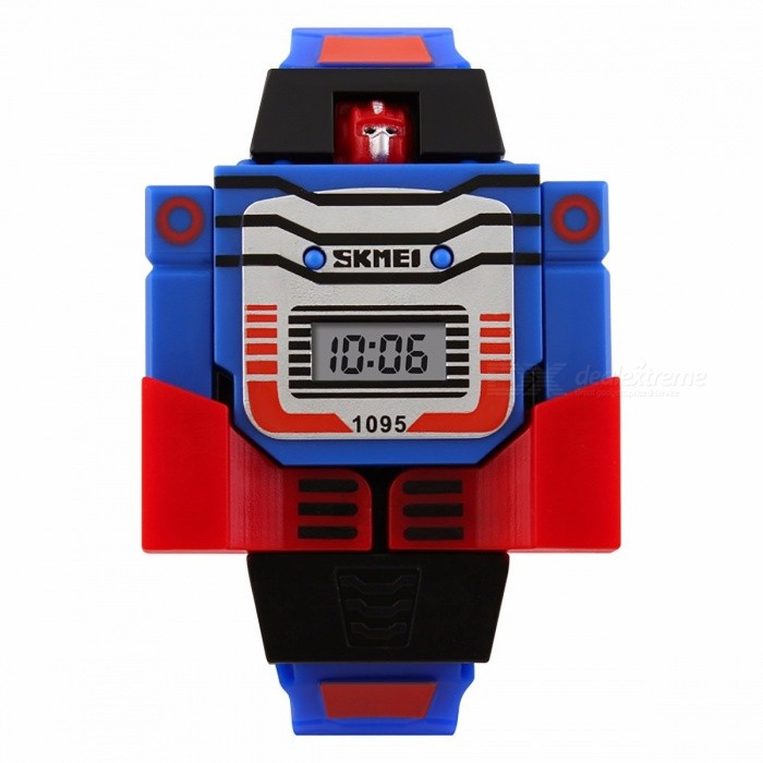 SKMEI Cartoon Sports Kids LED Digital Watch, Relogio Robot Transformation Toy Wristwatch for Children Boys BlueChildren Watches<br>DescriptionItem Type: Digital WristwatchesCase Shape: RoundMovement: DigitalStyle: Fashion &amp; CasualBand Material Type: PUFeature: Complete CalendarClasp Type: BuckleBoxes &amp; Cases Material: No packageDial Window Material Type: ResinWater Resistance Depth: No waterproofBrand Name: SKMEICase Material: PlasticGender: Children<br>