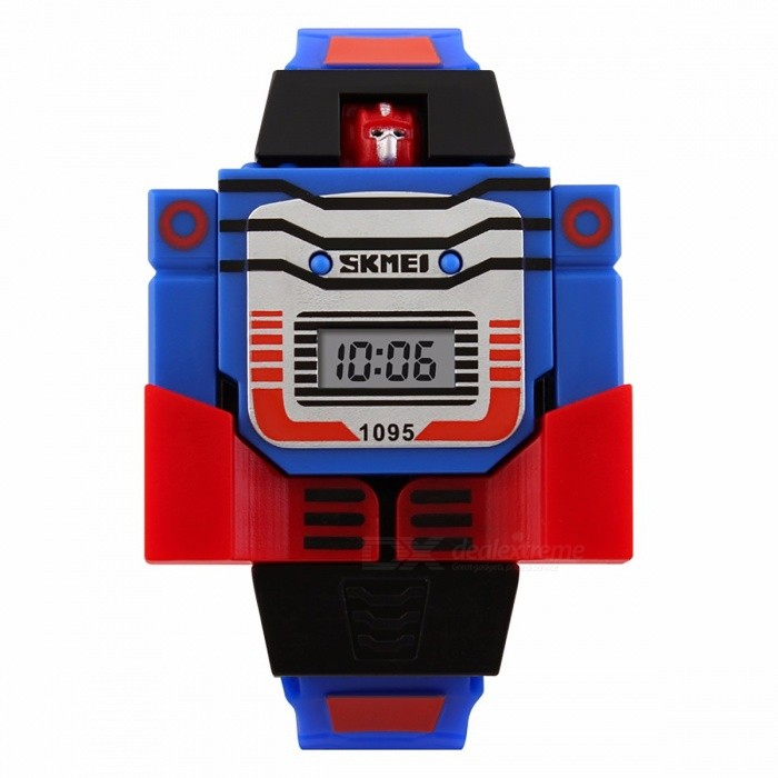 SKMEI Cartoon Sports Kids LED Digital Watch, Relogio Robot Transformation Toy Wristwatch for Children Boys RedChildren Watches<br>DescriptionItem Type: Digital WristwatchesCase Shape: RoundMovement: DigitalStyle: Fashion &amp; CasualBand Material Type: PUFeature: Complete CalendarClasp Type: BuckleBoxes &amp; Cases Material: No packageDial Window Material Type: ResinWater Resistance Depth: No waterproofBrand Name: SKMEICase Material: PlasticGender: Children<br>