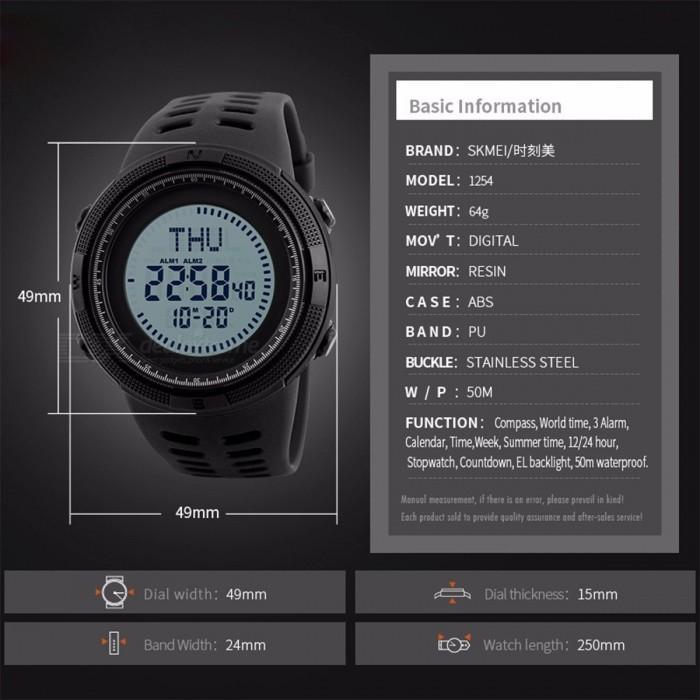 SKMEI Men's Sports Watch, Chrono 50m Waterproof Digital Wristwatch with Compass, Countdown, World Time, Summer Time
