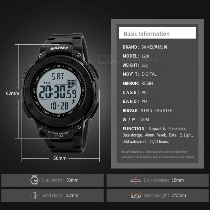 SKMEI Men's Sports Watch with Pedometer Timekeeping Function, Fashion Waterproof Alarm Digital Wristwatch