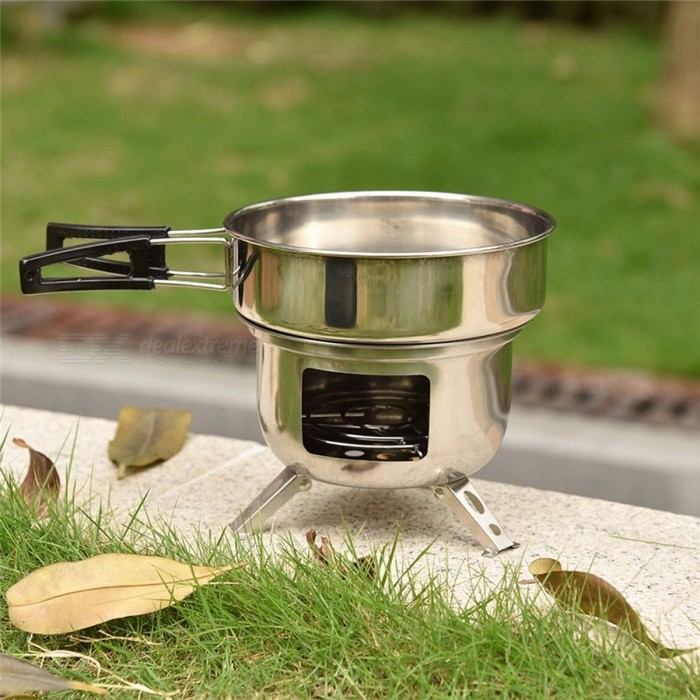 Outdoor Camping Portable Firewood Stove Assembled Picnic Stove Furnace Wood Furnace BBQ Grill Cooking Picnic Tool SilverCooking Stove And Hardware<br>DescriptionDisposable: NoCapacity: 3-5With Ignition Device or Not: Not IncludedFuel: FirewoodPiece Number Of Wind Deflector: No wind shieldUsage Condition: Normal OutdoorStructure: One-PieceBrand Name: NoEnName_NullApplication Method: ManualType: Other StoveMaterial: Stainless SteelApplicable Seasoning Type: Other<br>