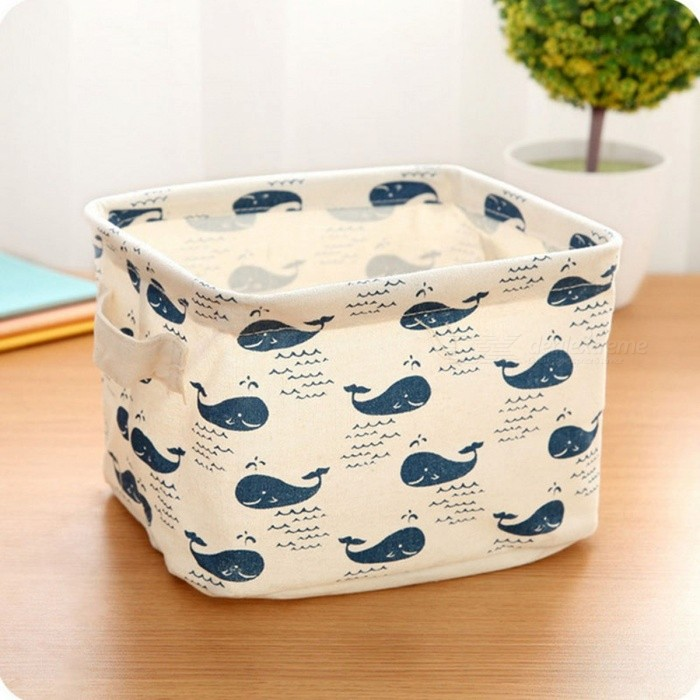 Cute Print Cotton Linen Sundries Storage Box Desktop Storage Organizer Cabinet Underwear Storage Basket whaleStorage Box &amp; Bag <br>DescriptionType: Storage Boxes &amp; BinsFeature: Folding,Eco-FriendlyStyle: PastoralShape: RectangleCapacity: 21-40 pieces of candy AlpsUse: SundriesProduct: Office OrganizerBrand Name: XC USHIOLoad: OtherMaterial: OtherTechnics: OtherSpecification: Other<br>