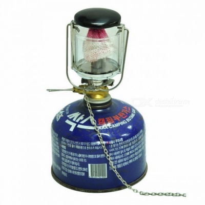 Outdoor MINI 80LUX Camping Lantern Portable Aluminum Gas Light Tent Lamp Torch Hanging Glass Lamp Use Chimney  Silver