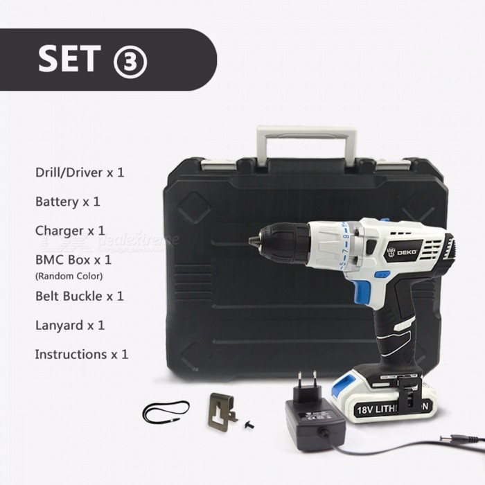 DEKO GCD18DU3 18V DC New Design Mobile Power Supply Lithium-Ion Battery Cordless Drill Power Drill Impact Drill Electric Drill